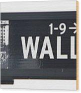 Wall Street Sign Close Up 1 Wood Print