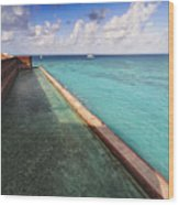 Walls And Moat Of  Fort Jefferson Wood Print