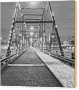 Walnut St. Bridge At Night Wood Print