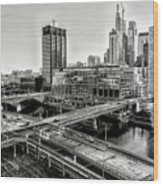 Walnut Street City View In Black And White Wood Print