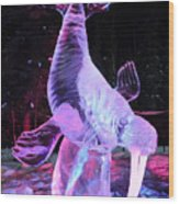 Walrus Ice Art Sculpture - Alaska Wood Print