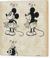 Walt Disney Mickey Mouse Patent 1929 - Vintage Wood Print