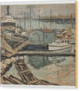 Walter  E  Schofield 1867-1944 Dock With Shed Wood Print