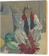 Walter Ufer 1876-1936 Stringing Chili Peppers Wood Print