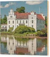 Wanas Castle And Reflection Wood Print