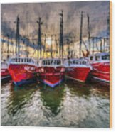 Wanchese Fishing Company Fleet Wood Print