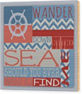 Wander Down By The Sea Wood Print