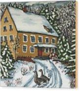 Wandering Geese Wood Print