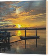Wando River August Sunset Wood Print