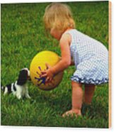 Wanna Play Ball Wood Print by Susie Weaver