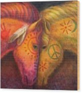 War Horse And Peace Horse Wood Print