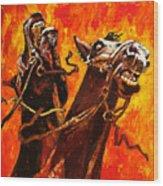 War Horses Wood Print
