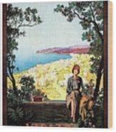 Warazze, Savona, Italy, Woman On Hotel Terrace Wood Print