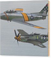 Warbirds Heritage F-86 Sabre And P-51 Mustang Wood Print