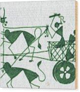 Warli Farmers In Bullock Cart Wood Print