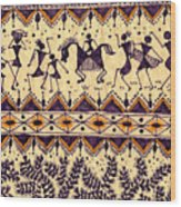 Warli Procession Wood Print