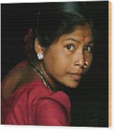 Warli Woman Wood Print