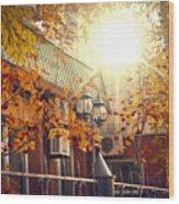 Warm Autumn City. Warm Colors And A Large Film Grain. Wood Print