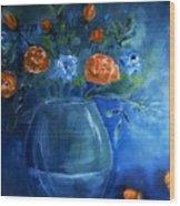 Warm Blue Floral Embrace Painting Wood Print