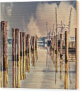 Warm Reflections In The Marina Wood Print