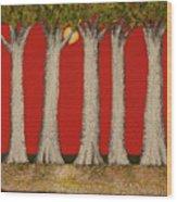 Warm Sky, Cool Trees Wood Print