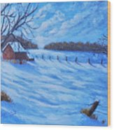 Warm Winter Barn Wood Print
