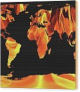 Warming World Map Wood Print