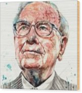 Warren Buffett Portrait Wood Print