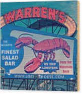 Warrens Lobster House Neon Sign Kittery Maine Wood Print