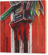 Warrior Glove On Red Wood Print