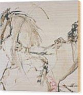 Warrior In Light Brown Wood Print