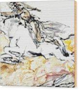 Warrior On White Horse Wood Print