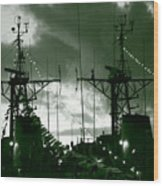 Warships At Twilight Wood Print