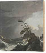 Warships In A Heavy Storm Wood Print