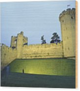 Warwick Castle At Dawn With A Man Wood Print by Richard Nowitz