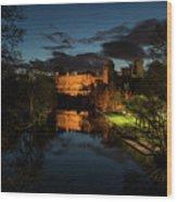 Warwick Castle At Night Wood Print