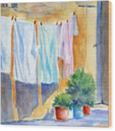 Wash Day In Marsaxlokk Wood Print