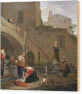 Washerwomen By A Roman Fountain Wood Print