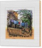 Washing Line And Cows Indian Village Rajasthani 1b Wood Print
