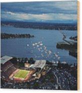 Washington Aerial View Of Husky Stadium Wood Print