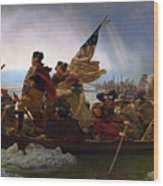 Washington Crossing The Delaware Painting - Emanuel Gottlieb Leutze Wood Print