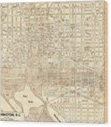 Washington Dc Antique Vintage City Map Wood Print