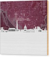 Washington Dc Skyline Map 3 Wood Print