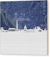Washington Dc Skyline Map 4 Wood Print