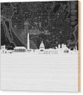 Washington Dc Skyline Map 5 Wood Print