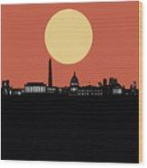 Washington Dc Skyline Minimalism 3 Wood Print
