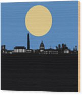 Washington Dc Skyline Minimalism 4 Wood Print
