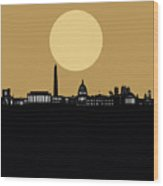 Washington Dc Skyline Minimalism 5 Wood Print