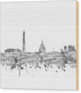 Washington Dc Skyline Music Notes Wood Print