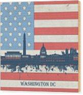 Washington Dc Skyline Usa Flag 3 Wood Print